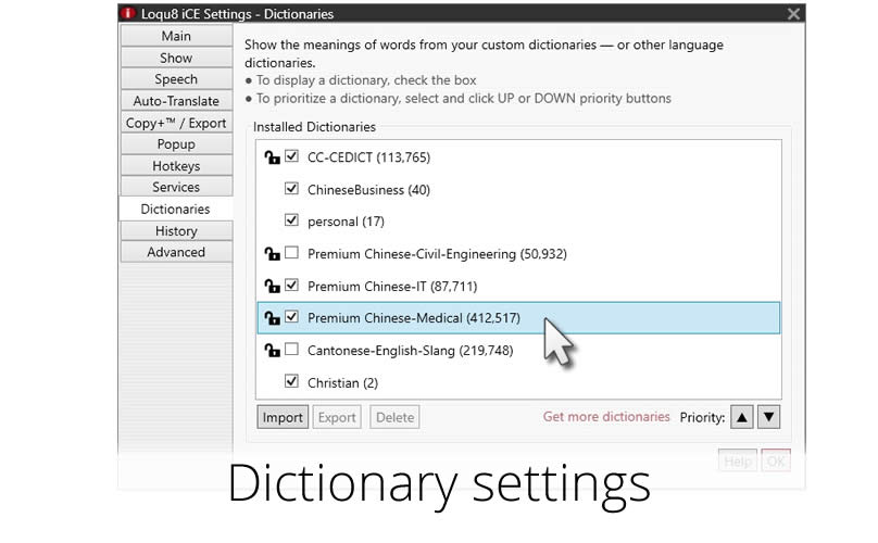 Add/hide/remove dictionaries